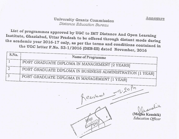 IMT Center For Distance Learning UGC Approval Doc